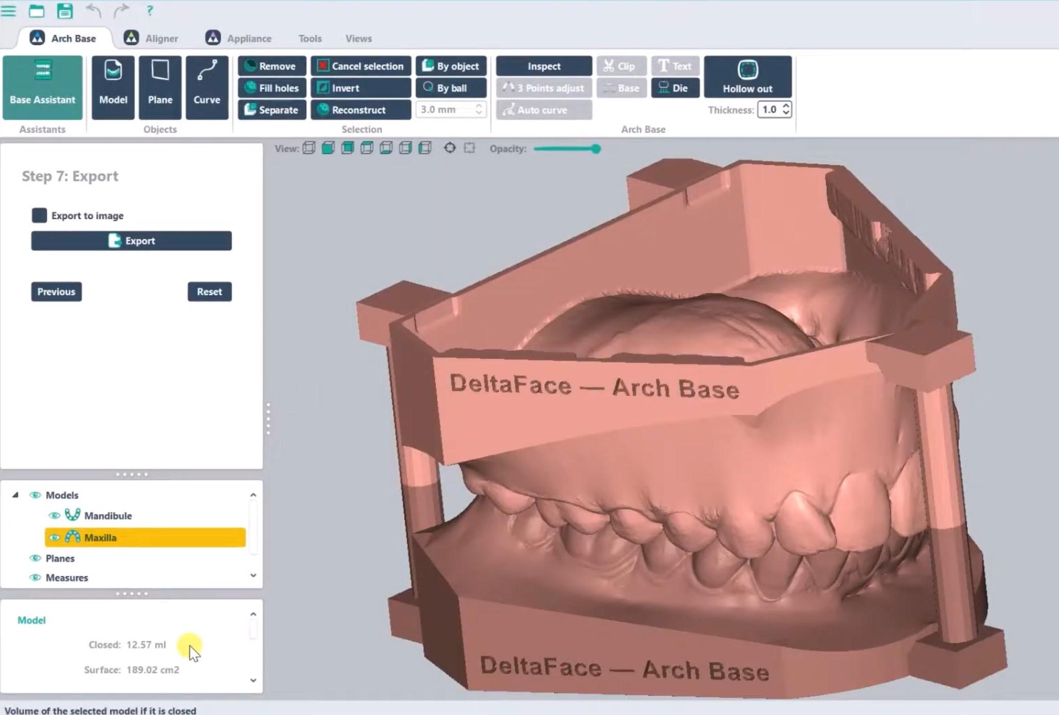 Hollow out 3D dental model Arch Base Deltaface